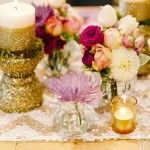 Gold candle holders,small vases,tea lights ...and the flowers!