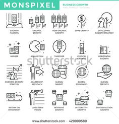 Flat thin line Icons set of Business Growth and Economy. Pixel Perfect Icons. Simple mono linear pictogram pack stroke vector logo concept for web graphics