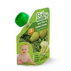 Baby Gourmet Organic Simple Purees Stage 1(6 Months+) Juicy Pear and Garden Greens Baby Food, 4.5-Ounce Pouches (Pack of 12) (Grocery)