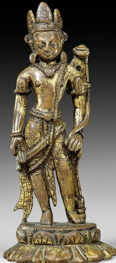 11th century, Nepal, Avalokiteshvara, copper with cold gold, More Pins Like This At FOSTERGINGER @ Pinterest