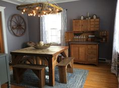 Custom made kitchen table & Benches made from reclaimed barn wood Rustic Kitchen Tables, Kitchen Table Bench, Wood Table, Dining Table, Reclaimed Barn Wood, Benches, Entryway Tables, Furniture, Home Decor