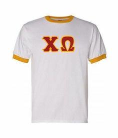 Chi Omega Lettered Ringer Shirt #chiomega #ringer #sororityclothes