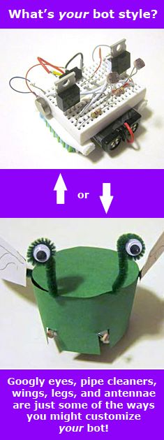 """Create a Carnival of Robot Critters this Summer"":  Whether your kids prefer to see the circuits or to disguise them with fun costumes, you and your kids can create a cadre of cool robotic animals, bugs, and creatures! [Source: Science Buddies, http://www.sciencebuddies.org/blog/2013/06/create-a-carnival-of-robot-critters-this-summer.php?from=Pinterest] #STEM #science #robotics #scienceproject #familyscience"