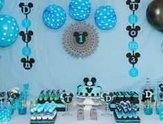 It's all about blue and Mickey Mouse. See more Mickey Mouse birthday ideas and… Mickey 1st Birthdays, Mickey Mouse First Birthday, Mickey Mouse Parties, Mickey Party, Baby First Birthday, 1st Birthday Parties, Birthday Ideas, Birthday Design, Festa Mickey Baby