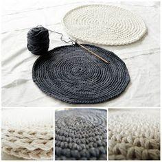 Crocheting a flat circle.