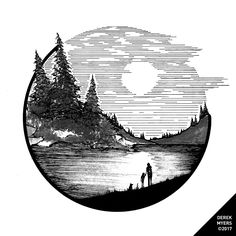 Drawings - Check out this nature illustration from Derek Myers ( the deliman) of a blackandwhite lakeside sunset You dont see many blackandwhite drawings that attempt to depict a sunset probably because most people might think Well without the color Pencil Art Drawings, Art Drawings Sketches, Cool Drawings, Interesting Drawings, Dog Illustration, Ink Illustrations, Stylo Art, Stippling Art, Black And White Drawing