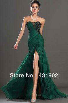 Fashion 2013 Chiffon Sleeveless Lace Sweetheart Floor Length Split Long Green vestidos de noche Evening Gown PG28