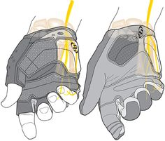 Technical illustration of bicycle gloves.