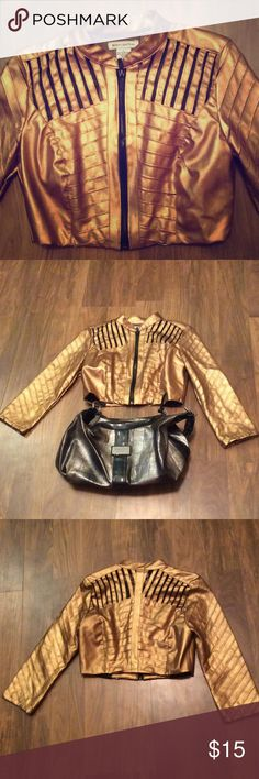 Sexy gold and black crop top jacket By Body Central, in excellent condition, no flaws or signs of wear Body Central Jackets & Coats