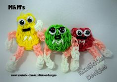 Rainbow Loom :Tutorial on how to make the red (and green) M&M using a si...