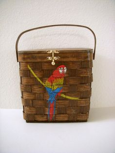 Vintage Signed Caro Nan Woven Basket Purse with Parrot, $45