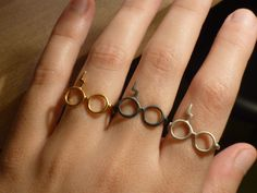 Glasses and Lightning Scar Ring Harry Potter Inspired Ring Sterling Silver 925 Geek Adjustable Rings Gift under 25
