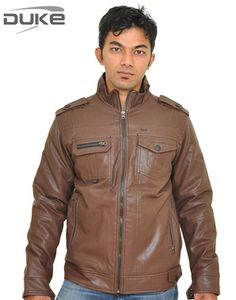 Duke Men Soft Leather Winter Brown Jacket By Returnfavors