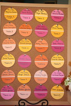AWESOME idea for place cards!! Paint swatch cards from the paint store!