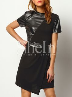 Shop Black Contrast PU Leather Pockets Dress online. SheIn offers Black Contrast…