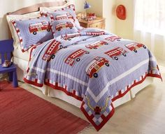 Fire Truck Bedding Twin Quilt Set Little Boys - Vintage Fire Trucks Blue Red Embroidered Cotton Queen Size Quilt Sets, Queen Quilt, Fireman Quilt, Fireman Nursery, Fireman Room, Firefighter Bedroom, Firefighter Family, Firefighter Decor, Fire Truck Bedroom