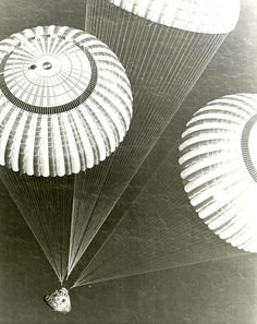 Apollo 17 splashdown    photo by USS Ticonderoga's recovery chopper, December 1972