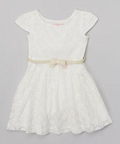 Look at this #zulilyfind! Off White Lace Skater Dress - Toddler & Girls by Paulinie #zulilyfinds
