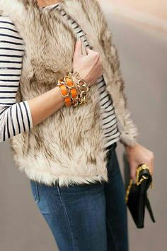 Fur vest + stripes.