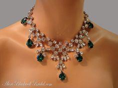 Emerald Green Wedding Necklace Vintage by amazing statement rhinestone bib AlexiBlackwellBridal, $250.00