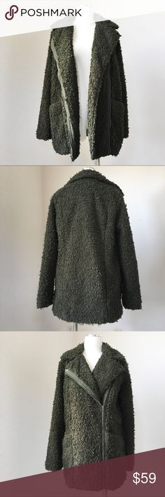 HOLLISTER Shag Moto Jacket Coat Olive Green S NWT, Hollister or other store tags, size S, lined, cozy shag fur, asymmetric zip, side pockets. Hollister Jackets & Coats
