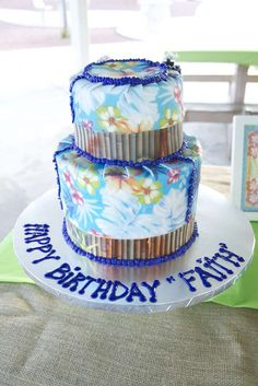 Hawaiian Birthday Party cake!  See more party planning ideas at CatchMyParty.com!