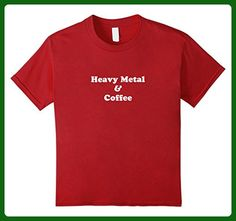 Kids Heavy Metal and Coffee t shirt - funny caffiene tee 10 Cranberry - Food and drink shirts (*Amazon Partner-Link)