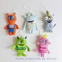 Needle felted Monster charms handmade OOAK each by FunFeltByWinnie