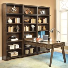 Meridien 5 Piece Peninsula Small Wall w/ Ladder in Burnished Dark Ash #dynamichome #bookcase #library #office #homeoffice #desk #storage #livingroom #greatroom #furniture #wood #brown #meridien #homedecor #design #interiordesign #interiors