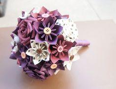 Papier Kusudama Origami Rose fleur Bouquet de mariée  Vintage