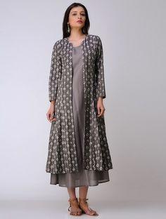 Ivory-Grey Dabu-printed Cotton JackeT
