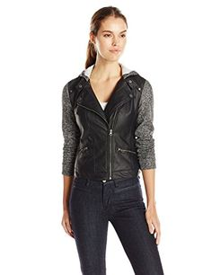 New Search Women's Fake Leather-based Moto Jacket with Fleece Heather Sleeves [CUTEST]