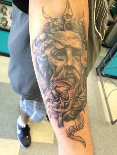 poseidon tattoo finished