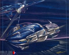 Bill Mitchell's 1940 Cadillac rendering showing how the war was on everyone's mind. GM Styling, along with the rest of the Arsenal of Design.