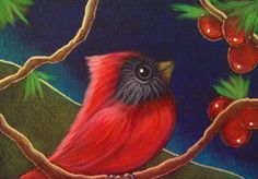 RED CARDINAL BIRD WITH BERRIES ACEO BY CYRA CANCEL