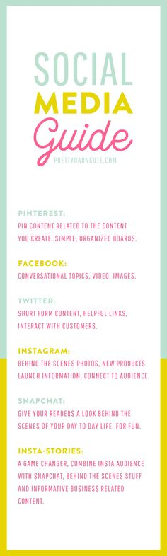Social Media Guide - Learn which platform to use for different types of content, and some tips for making each platform work best for you! via @lindseyriel