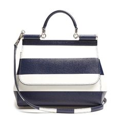 Dolce & Gabbana Sicily medium striped leather tote (7,420 PEN) ❤ liked on Polyvore featuring bags, handbags, tote bags, borse, blue stripe, handbags totes, striped tote, leather tote, white tote bag and leather purses
