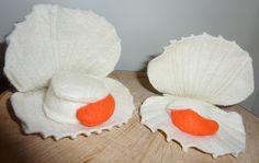 coquille Saint-Jacques avec corail en feutrine, scallops in felt