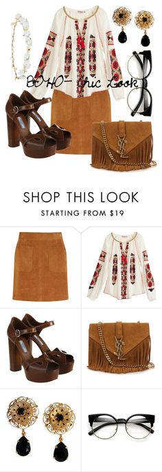 """""""BOHO- Chick Look"""" by kimbo20111 ❤ liked on Polyvore featuring Frame Denim, Calypso St. Barth, Prada, Yves Saint Laurent, Dolce&Gabbana and Robert Rose"""