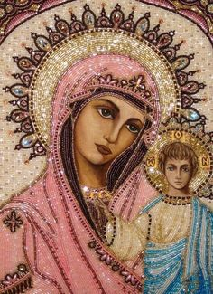 Lady of Kazan (Detail) Unique Icons by Angelica Artyomenko. These are beautiful!Our Lady of Kazan (Detail) Unique Icons by Angelica Artyomenko. These are beautiful! Blessed Mother Mary, Divine Mother, Blessed Virgin Mary, Religious Images, Religious Icons, Religious Art, Queen Of Heaven, Mary And Jesus, Holy Mary