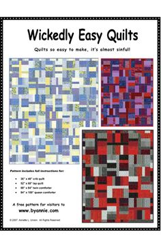 Download this FREE pattern Quilts so easy to make it's almost sinful!