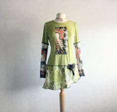 Women's Long Tunic Eco Clothing Bohemian Top Chartreuse Green Upcycled Shirt Hippie Clothes Boho Chic Ladies Tunic Large 'JANIS'. $59.00, via Etsy.