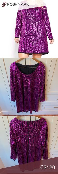 Love & Legend Sequin Mini Dress Time to shine! This dazzling, sequinned party dress is absolutely stunning. It has an exposed zipper, scoop neck, long sleeves and delicate hem details. It's fully lined and the sequin is in an intricate design. While it's meant to be form fitting, it could also be worn as a shift dress on a smaller size or even as a tunic with leggings.   It's new with tags. Love & Legend Dresses Mini Tunics With Leggings, Sequin Mini Dress, Plus Fashion, Fashion Tips, Fashion Trends, Absolutely Stunning, Party Dress, Scoop Neck, Delicate