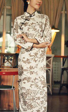 Fall Winter Sleeve Linen Long CheongsamChinese by RockRollRefresh, $68.00