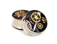 Steampunk Watch Parts Picture Plugs gauges by mysticmetalsorganics. $21.99 USD, via Etsy.