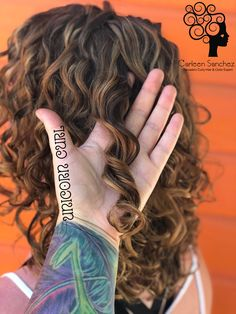 """Type 2 naturally curly hair with my signature hand painted highlights for curly hair """"curl-lights"""". Check out this website for Curly & Wavy hair hacks. -Carleen Sanchez Nevada's Curly Hair and Color Expert 775.721.2969"""