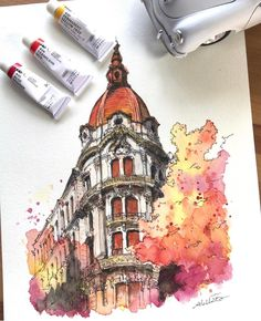 """culturenlifestyle: """"Watercolor Portraits by Akihito Horigome Keep reading """" - zeichnen - Watercolor Sketch, Watercolor Portraits, Watercolor Illustration, Watercolor Paintings, Watercolor Trees, Watercolor Landscape, Abstract Paintings, Watercolor Architecture, Architecture Drawings"""
