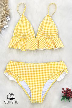 Yellow Gingham Retro styles that look good on EVERY body. Discover our new vintage-inspired styles!Retro styles that look good on EVERY body. Discover our new vintage-inspired styles! Shark Bathing Suits, Summer Bathing Suits, Girls Bathing Suits, Vintage Bathing Suits, Yellow Bathing Suit, Summer Suits, Cute Swimsuits, Women Swimsuits, Bikini Swimsuit