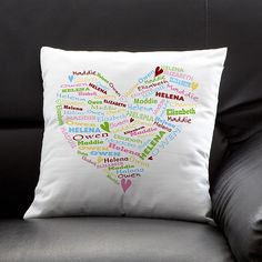 Her sweethearts are kept near and dear to her heart with our exclusive Her Heart of Love Personalized Throw Pillow.  Exquisite, white linen pillow cover is artfully designed with a heart that is made up of any names you choose. up to 8 names can be included!