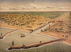 Bird's eye view of the lighthouses;piers and sea locks at the entrance of the North sea Canal in The town of IJmuiden would be formed behind and around these structures. North Sea, Birds Eye View, Paris Skyline, Holland, Amsterdam, Dutch, Entrance, Cool Pictures, Islam